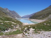Hiking circular trail around Mattmark reservoir Saas-Fee
