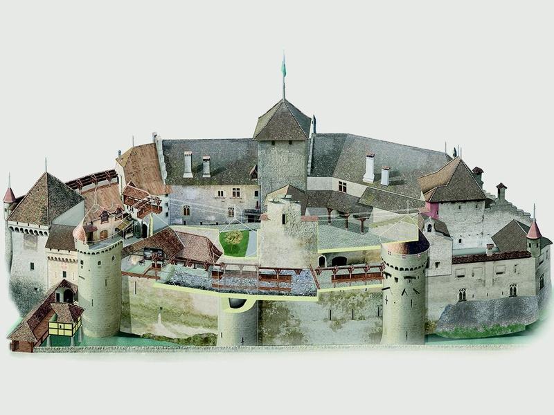 Chillon castle castle 39 s map for Castle house plans with towers