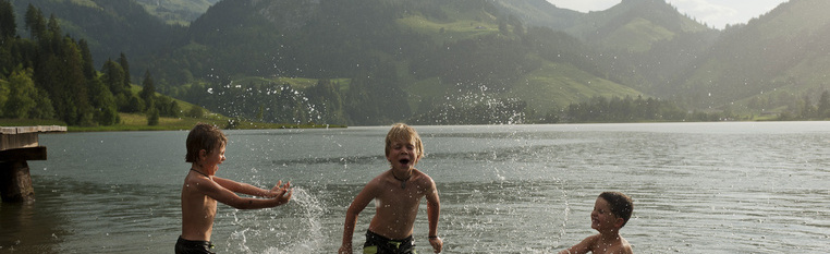Bathing in the mountain lake