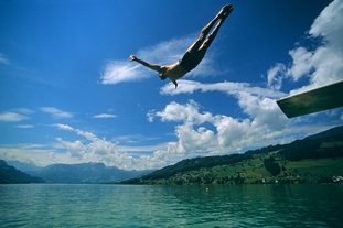Jumping into Lake Sarnersee