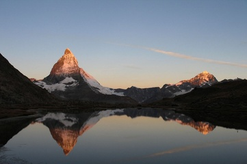 Riffelsee lake with the Matterhorn in the morning