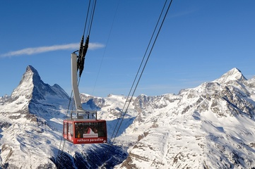 Rothorn aerial gondola paradise in winter