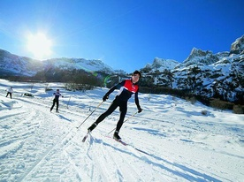 Cross-country skiing in the village - Leukerbad