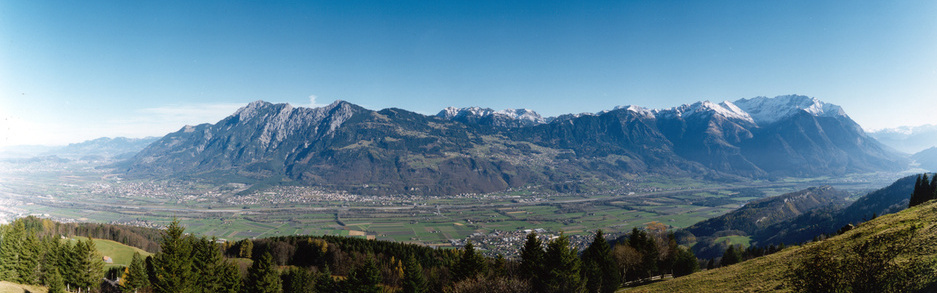 Panoramic view from Switzerland towards Liechtenstein