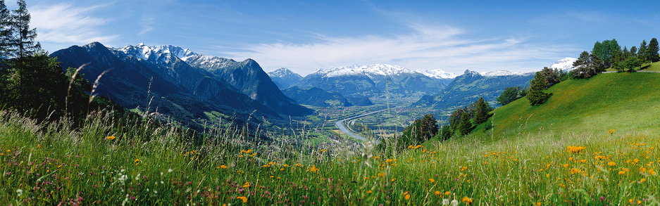 Liechtenstein Panoramablick auf das Rheintal