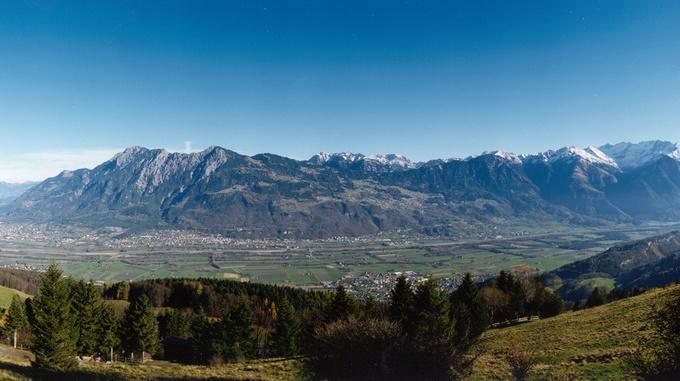 Panoramic view from Switzerland towards Liechtenstein