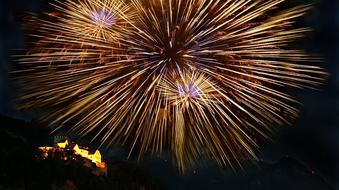 Schloss Vaduz am Staatsfeiertag