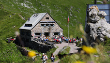 The Pfälzerhütte hut in Malbun at 2108m