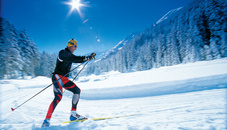 Cross-country skiing in Steg in the Valünatal Valley