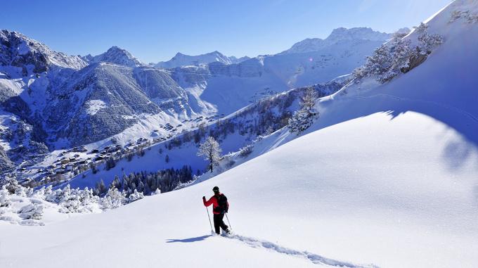 Schneeschuh Wanderer in Malbun