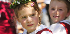 National Day Liechtenstein Children in Traditional Clothes