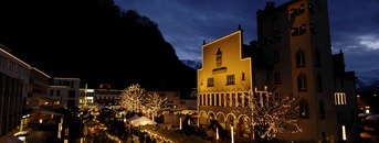 The Christmas market in the centre of Vaduz