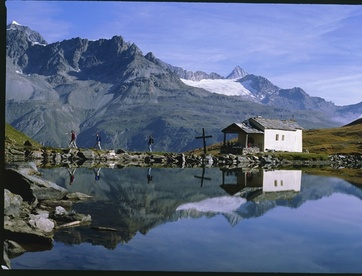 Schwarzsee lake and chapel
