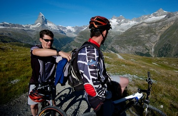 Mountain bikers above Zermatt