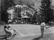 Tennis court at the Monte Rosa Zermatterhof in the Thirties'