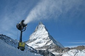 Snow from a snow gun at the Matterhorn.