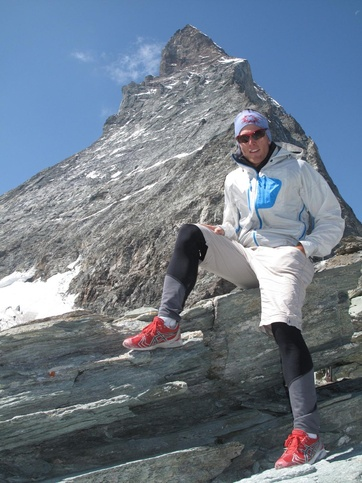 The (still) trainee Zermatt mountain guide Andreas Steindl in front of the Matterhorn.