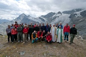 The Weisshorn anniversary climbers with priests Albert Ziegler (left) and Josef D'Souza