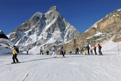 On the black ski runs of the italian side of the ski area of Zermatt: View on the south face of the Matterhorn