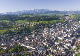 St.Gallen, Kathedrale und Blick auf Sntis