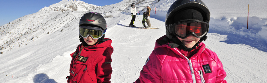 Skiing kids in Malbun