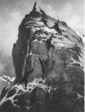 Reaching the summit of the Matterhorn at the first ascent