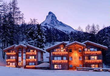 The Matthiol Hotel at the far end of Zermatt's Winkelmatten quarter.