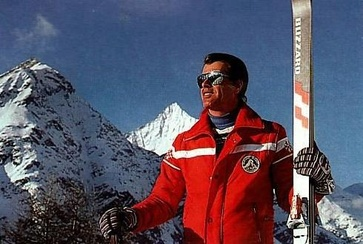 Peter Kronig, ski instructor since 1957, with skis preceding the carving era
