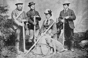 A strong team: Meta Brevoort with her nephew William Coolidge, the mountain guides Christian Almer (left) and Ulrich Almer (right) and the dog Tschingel. (Ronald W. Clark, An Eccentric in the Alps)